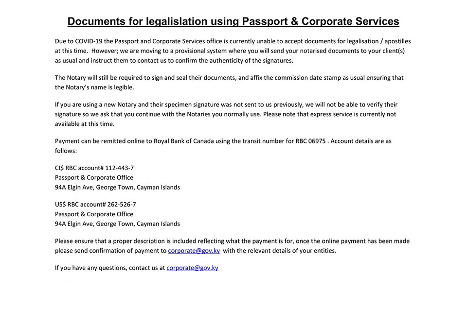 Passport and Corporate Services Office Apostille Service.
